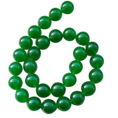 14mm bright green jade beads strand