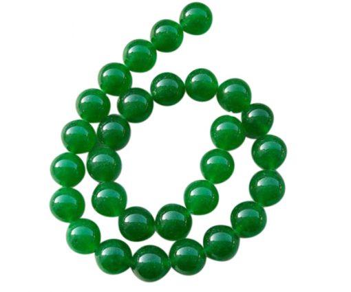 14mm bright green jade beads strand