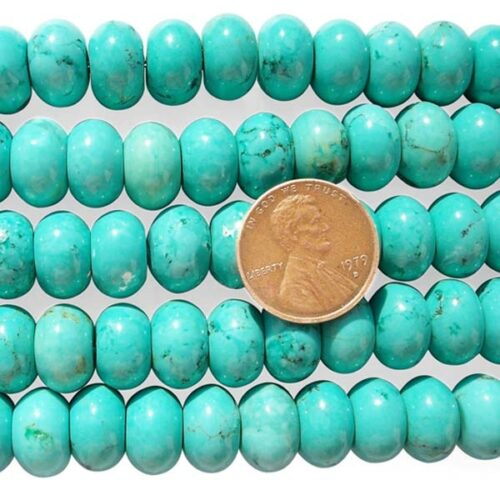 Blue Turquoise Beads 8x12mm Stabilized in Bean Shape on Temporary Strands