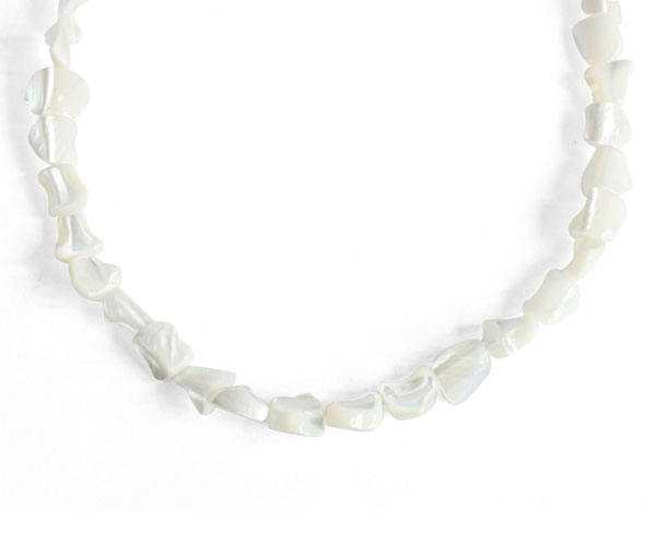 White Sea Shell Claspless Irregular Nugget Necklace, 48in