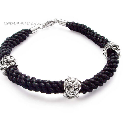 Black Hand Made Silk Cord Bracelet with Pewter Beads, Adjustable Length