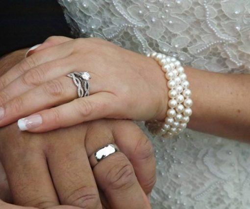 3-row White Round Pearl Bracelet, 925S Silver Clasp