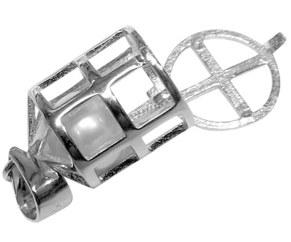 Sterling Silver Bird Pearl Cage Pendant