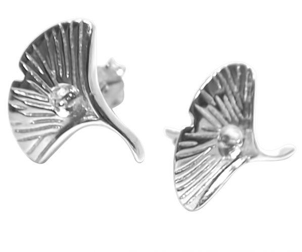 925S Silver Earring Setting in Fan-Shaped Design