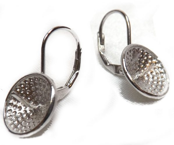 Large Sized 925 Sterling Silver Leverback Earrings Setting