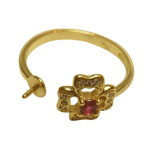 18k yellow gold with ruby flexible ring setting