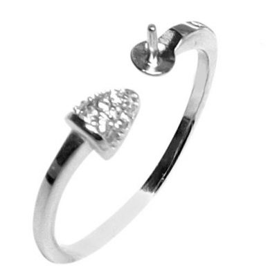 Simple Triangle Sparking 925 Sterling Silver Ring Setting