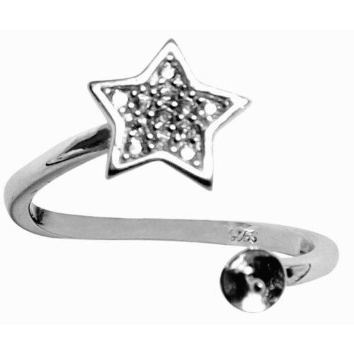 Star Designed 925 Sterling Silver Ring Setting