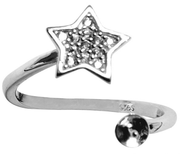 Star Designed 925 Sterling Silver Ring Setting