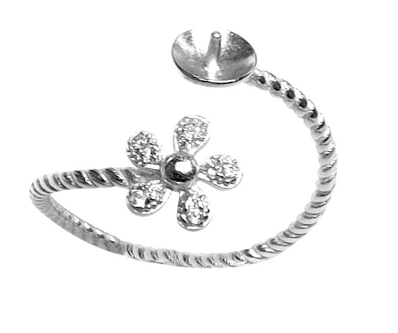 flower shaped 925 sterling silver adjustable ring setting. Black Bedroom Furniture Sets. Home Design Ideas