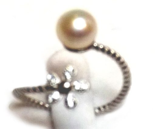 Flower Shaped 925 Sterling Silver Adjustable Pearl Ring
