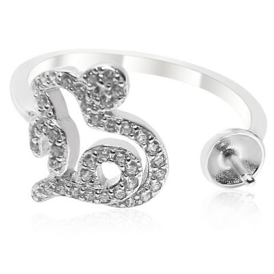 Adjustable Heart Shaped 925 Sterling Silver Ring Setting