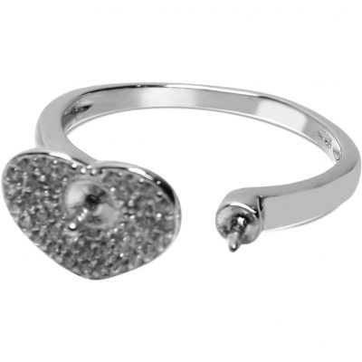 Heart Shape Micro-Paved 925SS Adjustable Ring Setting
