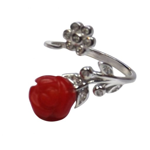 Silver coral ring adjustable sized