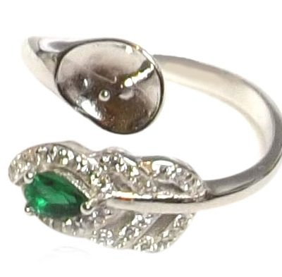 Emerald and Diamonds 925 Sterling Silver Ring Setting