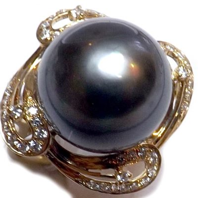 14KY Gold Tahitian Pearl Diamond Ring