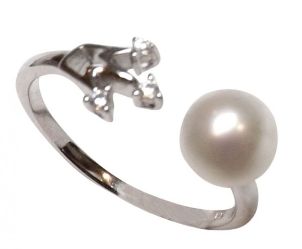 Adjustable 7mm Pearl Ring in 925 Sterling Silver