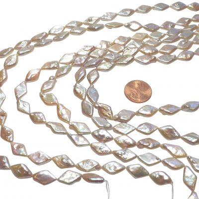 Rare High Quality Rhombus Shaped Coin Pearl Strand AAA High Luster
