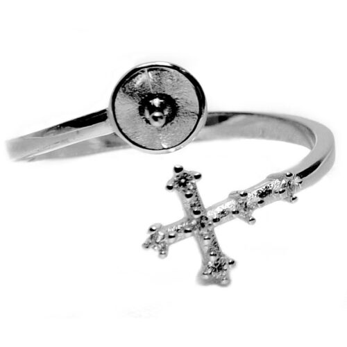 Beautiful Cross Designed 925 Sterling Silver Ring Setting