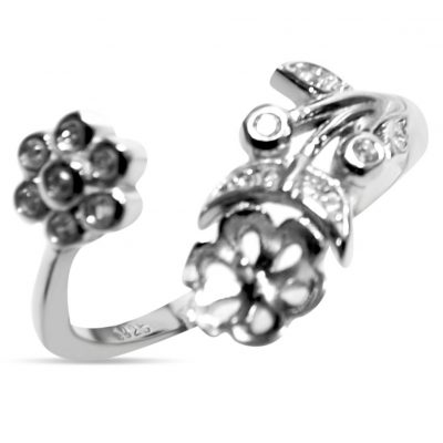 925SS Ring Setting Flower Shaped Adjustable