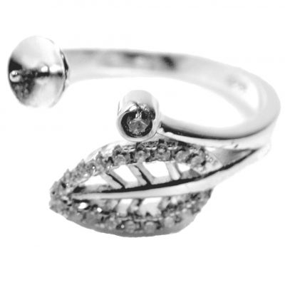 Leaf Designed Adjustable 925 Sterling Silver Ring Diamond Setting