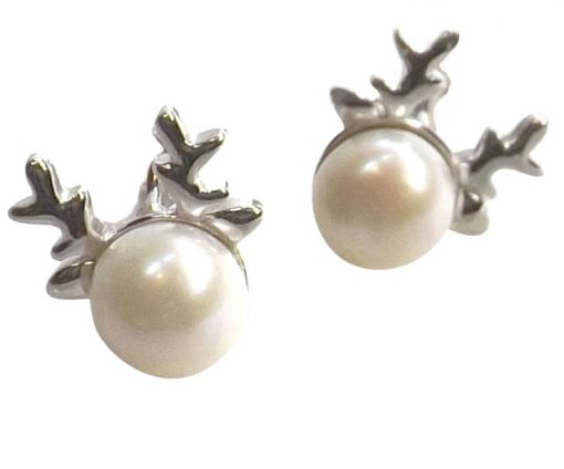925 Sterling Silver Pearl Studs Earrings