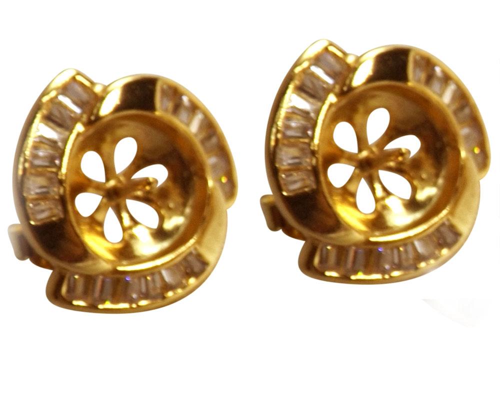 earrings setting in 18kg overlay