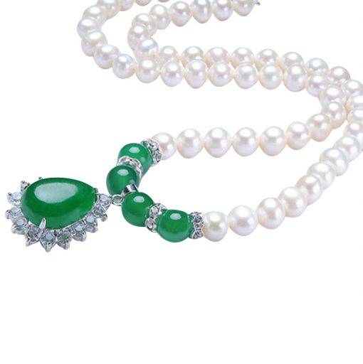 Jade pearl Silver Necklace