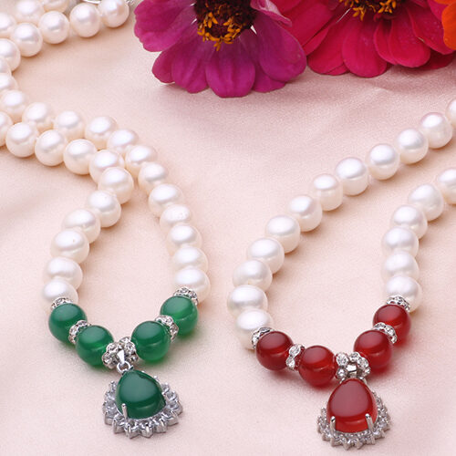 Agate or Jade necklace and earrings set of 2