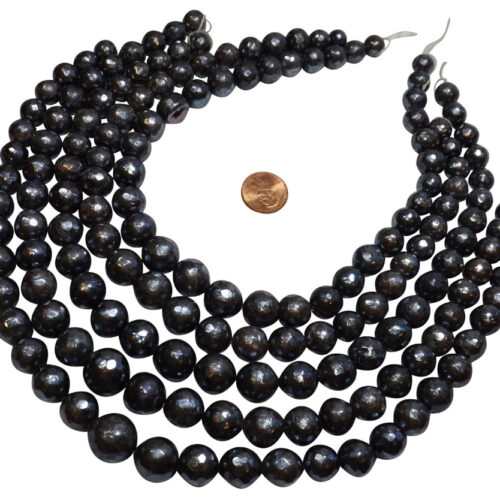 10-14mm handcarved round pearl strands