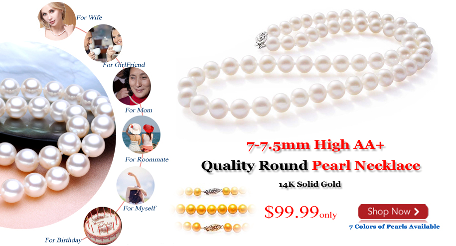 7-7.5mm White High AA+ Quality Round Pearl Necklace 14K Solid Gold