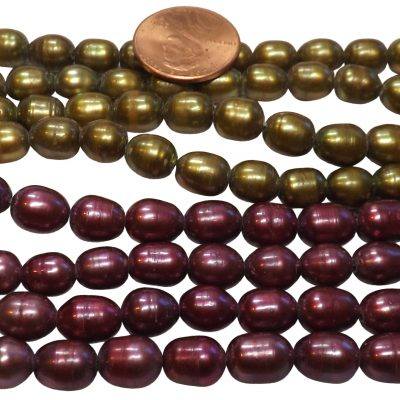 7-8mm Cranberry Red or Olive Green AAA- Quality Rice Pearls Large Hole