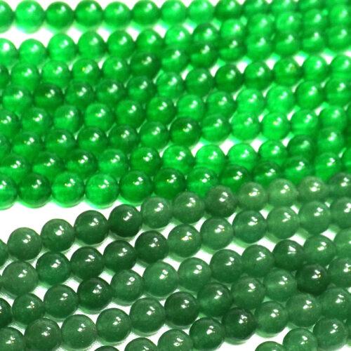 6mm round green jade beads