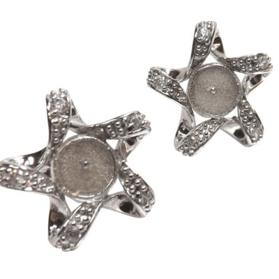 Star Shaped silver earrings studs setting