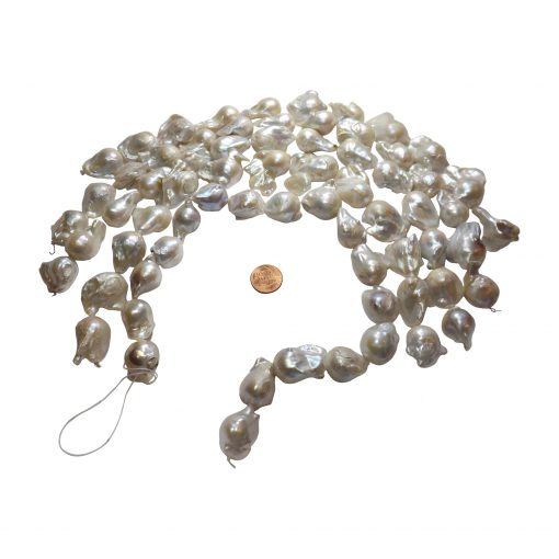 Huge 15-25mm White Baroque Pearl Strand
