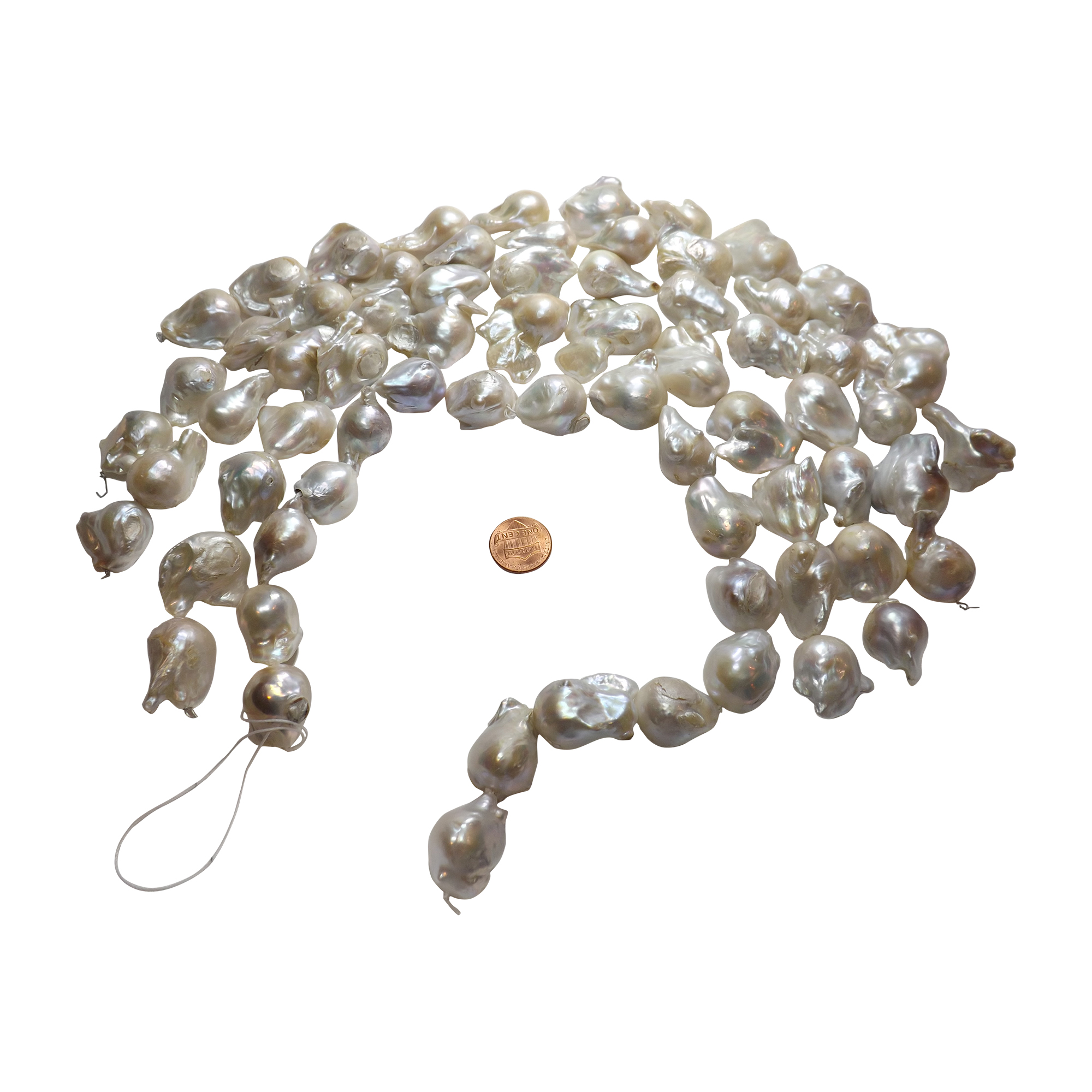 Huge 15 25mm Baroque Pearl Strand In White With Nice Luster