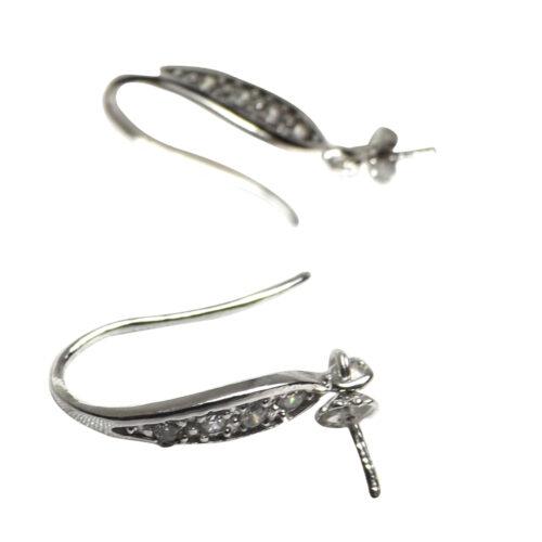Fancy Hook Silver Pearl Earrings Settings