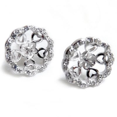 925 silver pearl earring studs settings