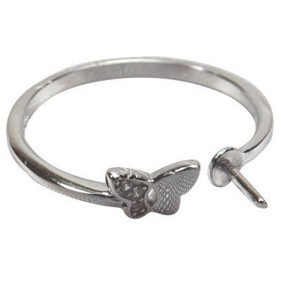 925 Sterling Silver Open Front Butterfly Adjustable Ring Setting
