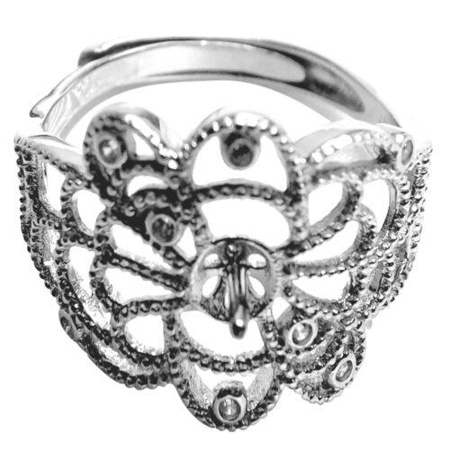 Sterling Silver Filigree Adjustable Ring Setting