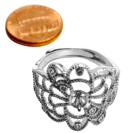 Silver Filigree Adjustable Ring Setting