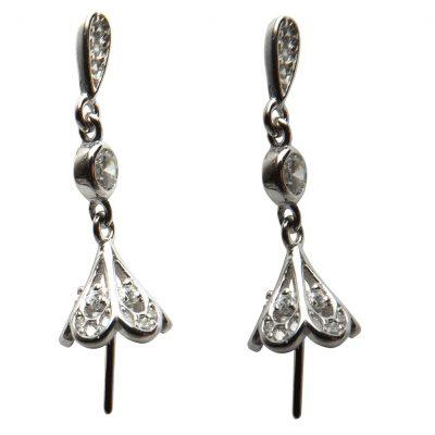 925 Sterling Silver Pearl Dangling Earrings Setting