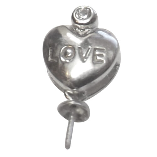 """925 Sterling Silver Heart with """"LOVE"""" Pendant Setting"""