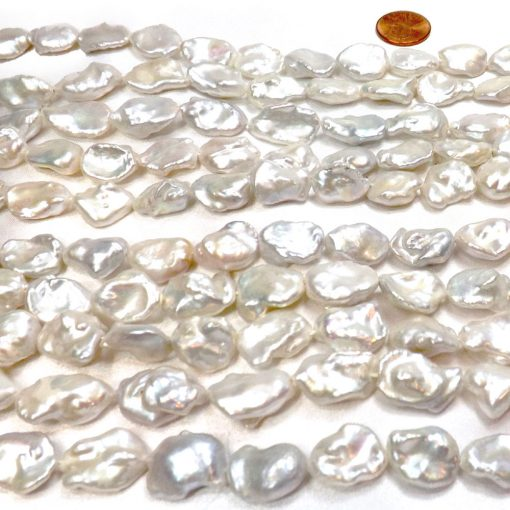 14-16mm Large Grey Colored Pearls with 2.3mm Holes