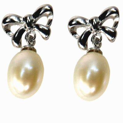 bow tie 925 ss pearl earrings
