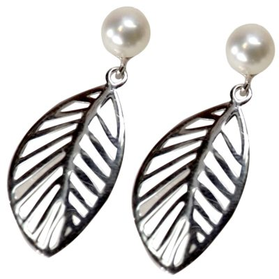 Large Leaf Shaped 925 Sterling Silver Pearl Earrings