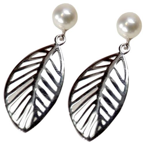 Large Leaf Shaped 925 Sterling Silver Pearl Earrings