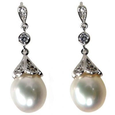 925ss filigree dangling pearl earrings