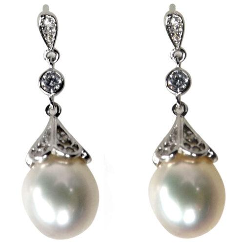 925ss filigree dangling pearl earrings