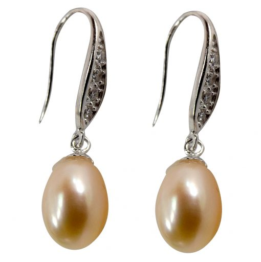925 sterling silver pink pearl earrings with cz
